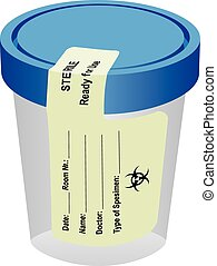 Sterile container with a label - The sterile container with...