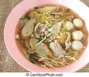 Asian style noodle with variety of pork and fish balls