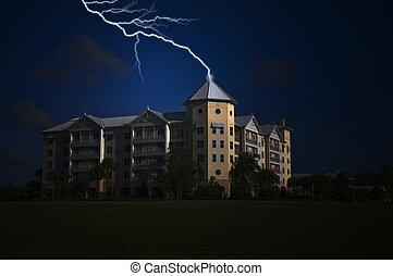 Tower Strike - Modern Condominium being struck by lightning...