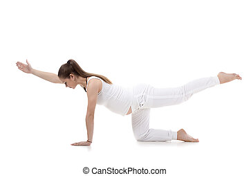 Prenatal Yoga, Sunbird pose - Full length portrait of young...