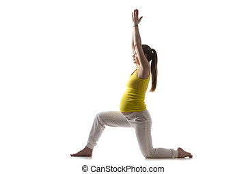 Yoga for moms-to-be, Virabhadrasana 1 - Full length...