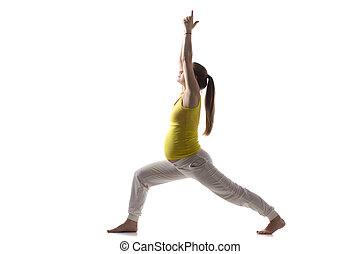 Prenatal Yoga, Virabhadrasana 1 - Full length silhouette of...