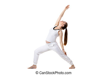 Prenatal Yoga, Reverse Warrior pose - Portrait of young...