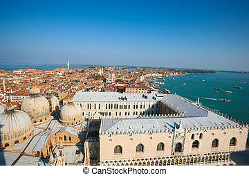 aerial of venice - Aerial view of Venice from the Campanile...