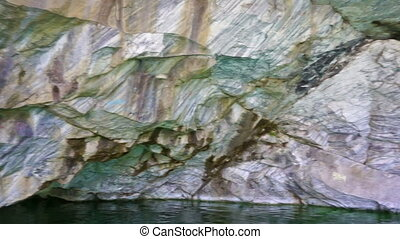 Cave in marble quarry in Ruskeala, Karelia, Russia, pan view