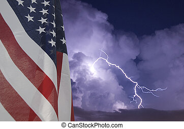 American flag displayed during an electrical storm