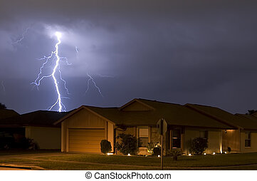 Massive lightning strike at night very near homes