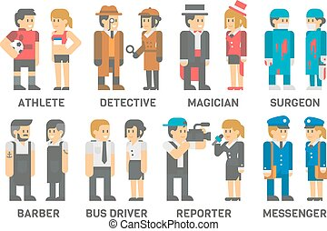 Flat design people with professions set