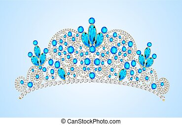 illustration women's gold diadem tiara with precious stones