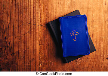 Holy Bible on table - Holy Bible on old wooden church table,...