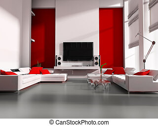 Tv room - Modern interior white drawing tv room