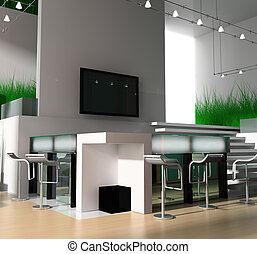 reception in modern hotel 3d image