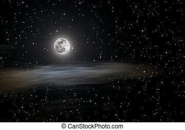 Lleno, luna, estrellas