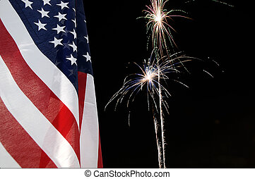 United States flag with fireworks in the background