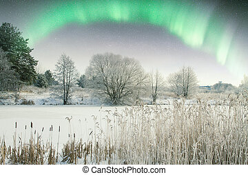 Northern Lights. Elements of this image furnished by NASA
