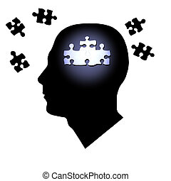 Puzzle Brain - Puzzle pieces inside and outside of a man\'s...