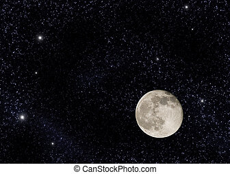 Near full moon on a large star field