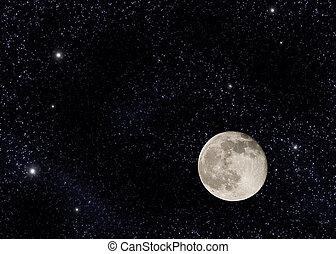 perto, cheio, lua, grande, estrela, campo