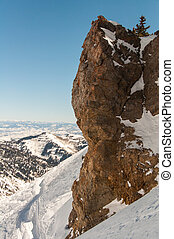 Snowbird 7 - A large stone contrasts the vast and open...