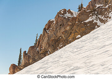 Snowbird 9 - Steep incline coated with thick layers of Ice