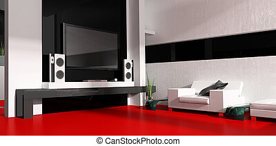 Tv room - Interior of a modern white drawing tv room