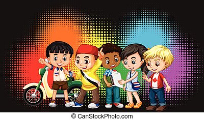 Group of children with rainbow background illustration
