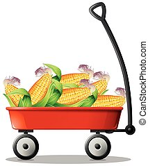 Fresh corn on red wagon