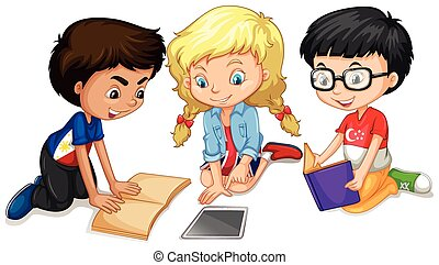 Children reading and doing work illustration