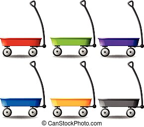 Wagons in different colors illustration