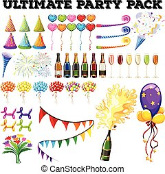 Ultimate party pack with many ornaments illustration