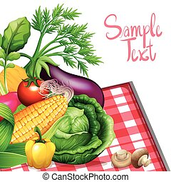 Fresh vegetables with sample text illustration