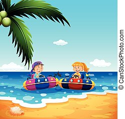 Girl and boy riding on rubber boat  illustration