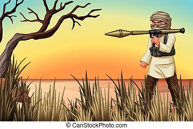Terrorist with gun in the field illustration