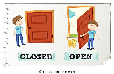 Opposite adjectives closed and open illustration
