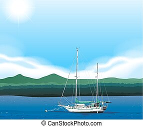 Sailboat floating in the sea