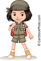 Little girl with backpack illustration