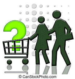 Consumer Basket - Consumer basket with big question sign,...