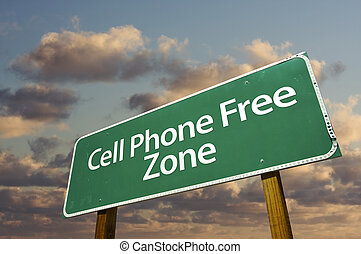 Cell Phone Free Zone Green Road Sign and Clouds - Cell Phone...