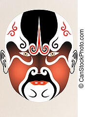 chinese opera face on Fabric with floral pattern