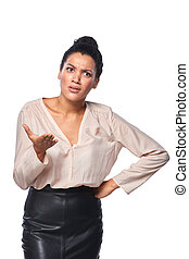 Frustrated business woman - Business woman shrugging her...