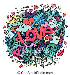 Love hand lettering and doodles elements - Cartoon vector...