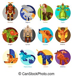 Mythical creatures icons set - Mythical creatures flat icons...