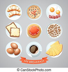 Poster With Breakfast Set - Poster of traditional european...