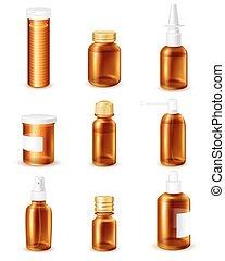 Pharmaceutical Bottles Set - Pharmaceutical transparent...