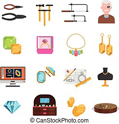 Jeweller Icons Set - Jeweller icons set with earrings and...