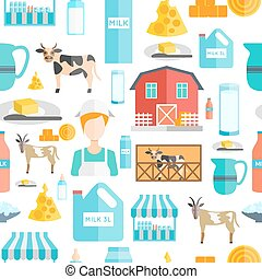 Milk seamless pattern with flat cows farmers and dairy...
