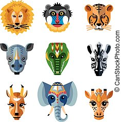 African Animals Heads Masks Flat Icons - Traditional african...