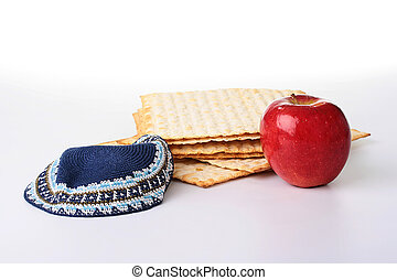 Matza - Jewish national and religious meal on a white...
