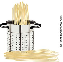 pot with spaghetti for feeding - pot for the pasta colander...