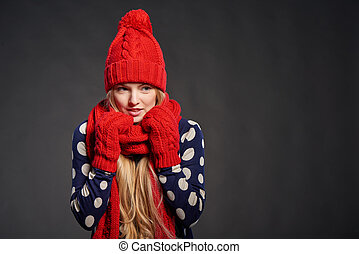Christmas girl, winter concept. Young beautiful woman...